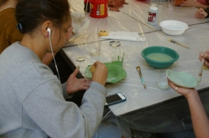 Glazing bowls at Ingram Library